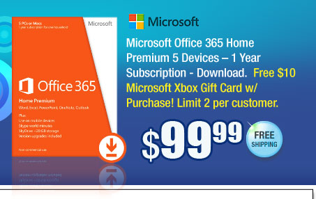 Microsoft Office 365 Home Premium 5 Devices – 1 Year Subscription - Download