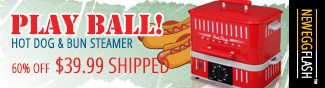 PLAY BALL! HOT DOG & BUN STEAMER. 60% OFF $39.99 SHIPPED. - NEWEGGFLASH