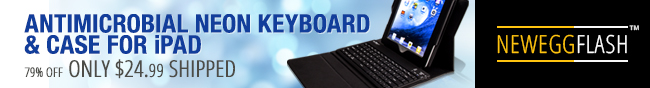 ANTIMICROBIAL NEON KEYBOARD & CASE FOR iPAD. 79% OFF - ONLY $24.99 SHIPPED.