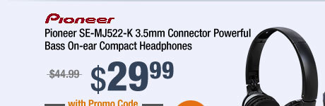 Pioneer SE-MJ522-K 3.5mm Connector Powerful Bass On-ear Compact Headphones