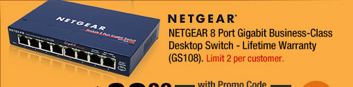 NETGEAR 8 Port Gigabit Business-Class Desktop Switch - Lifetime Warranty (GS108)