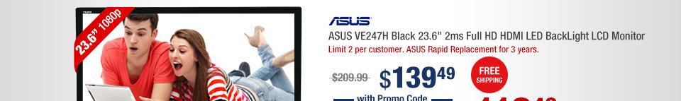 "ASUS VE247H Black 23.6"" 2ms Full HD HDMI LED BackLight LCD Monitor"