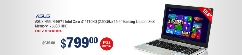 "ASUS N56JN-EB71 Intel Core i7 4710HQ (2.50GHz) 15.6"" Gaming Laptop, 8GB Memory, 750GB HDD"