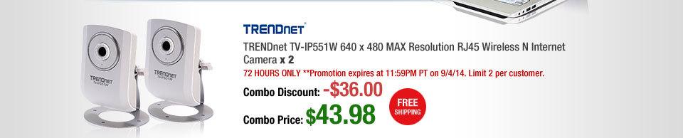 TRENDnet TV-IP551W 640 x 480 MAX Resolution RJ45 Wireless N Internet Camera