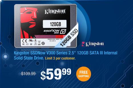 "Kingston SSDNow V300 Series 2.5"" 120GB SATA III Internal Solid State Drive"