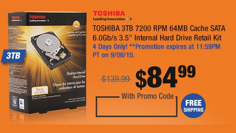 """TOSHIBA 3TB 7200 RPM 64MB Cache SATA 6.0Gb/s 3.5"""" Internal Hard Drive Retail Kit"""