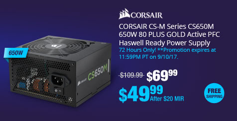 CORSAIR CS-M Series CS650M 650W 80 PLUS GOLD Active PFC Haswell Ready Power Supply