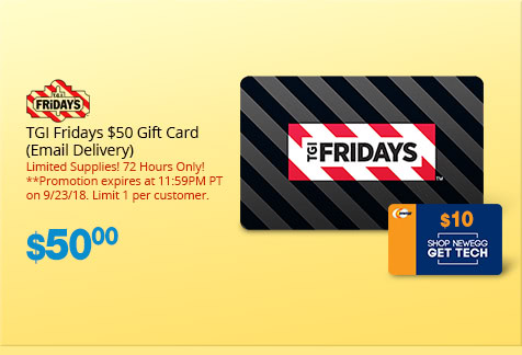 TGI Fridays $50 Gift Card (Email Delivery)