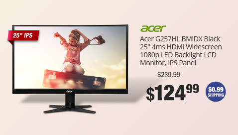 "Acer G257HL BMIDX Black 25"" 4ms HDMI Widescreen 1080p LED Backlight LCD Monitor, IPS Panel"
