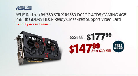 ASUS Radeon R9 380 STRIX-R9380-DC2OC-4GD5-GAMING 4GB 256-Bit GDDR5 HDCP Ready CrossFireX Support Video Card