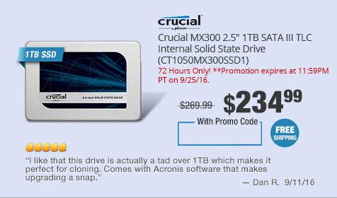 """Crucial MX300 2.5"""" 1TB SATA III TLC Internal Solid State Drive (CT1050MX300SSD1)"""