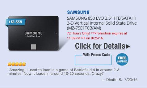 "SAMSUNG 850 EVO 2.5"" 1TB SATA III 3-D Vertical Internal Solid State Drive (MZ-75E1T0B/AM)"