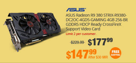 ASUS Radeon R9 380 STRIX-R9380-DC2OC-4GD5-GAMING 4GB 256-Bit GDDR5 HDCP Ready CrossFireX Support Video Card