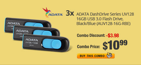 3X - ADATA DashDrive Series UV128 16GB USB 3.0 Flash Drive, Black/Blue (AUV128-16G-RBE)