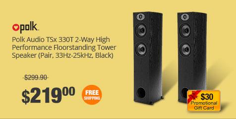 Polk Audio TSx 330T 2-Way High Performance Floorstanding Tower Speaker (Pair, 33Hz-25kHz, Black)