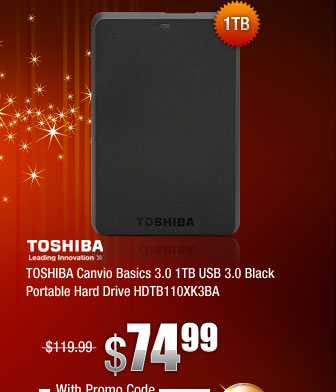 TOSHIBA Canvio Basics 3.0 1TB USB 3.0 Black Portable Hard Drive HDTB110XK3BA