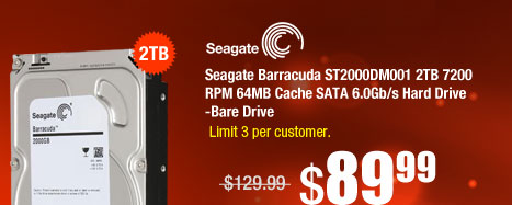 Seagate Barracuda ST2000DM001 2TB 7200 RPM 64MB Cache SATA 6.0Gb/s Hard Drive -Bare Drive