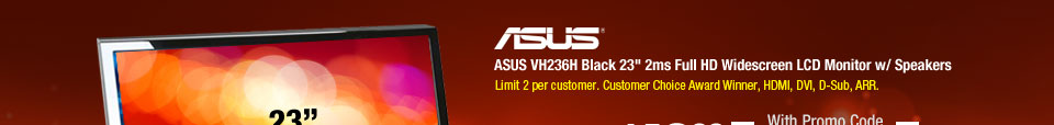 ASUS VH236H Black 23 inch 2ms Full HD Widescreen LCD Monitor w/ Speakers