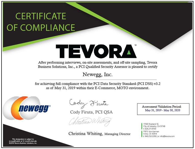 TEVORA Certificate of Compliance