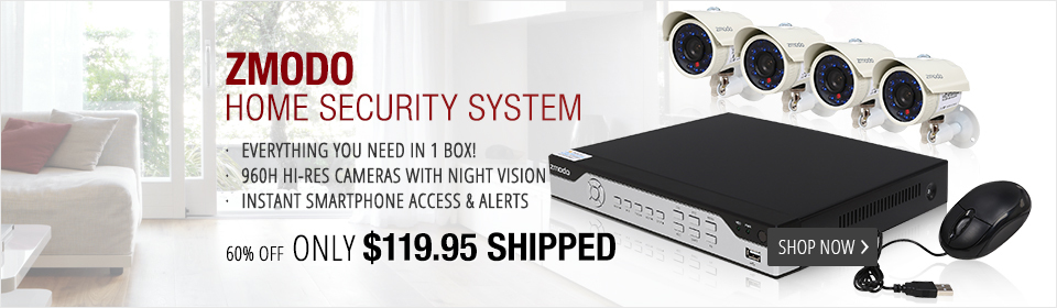 Zmodo KHI8-YARUZ4ZN 8 Channel H.264, 960H DVR Security System with 4 x 700TVL Night Vision w/IR Cut Outdoor Cameras (No HDD)