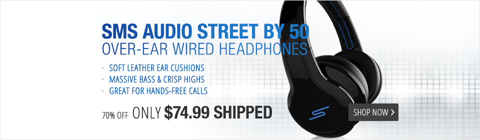 SMS Audio STREET by 50 Over-Ear Wired 2.0 Headphones with Inline Microphone - Black