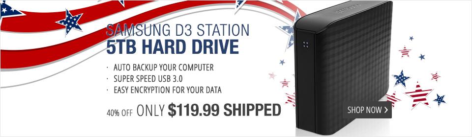 """SAMSUNG D3 Station 5TB USB 3.0 3.5"""" Desktop External Hard Drive STSHX-D501TDB Black"""