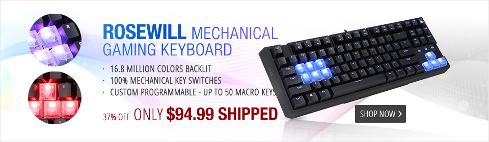 Rosewill RGB80 16.8 Million Colors Illuminated Mechanical Gaming Keyboard