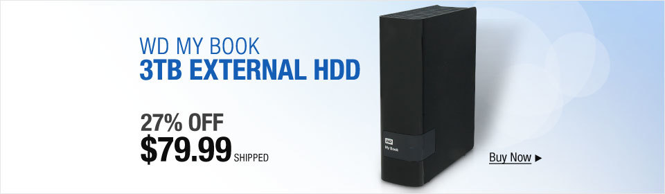 "WD My Book 3TB USB 3.0/USB 2.0 3.5"" External Hard Drive WDBFJK0030HBK-NESN Black"