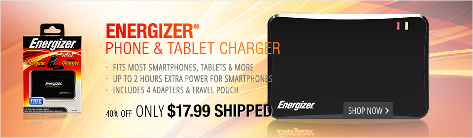 Energizer® Universal Rechargeable Power Pack for Smartphones, iPods and More - Black