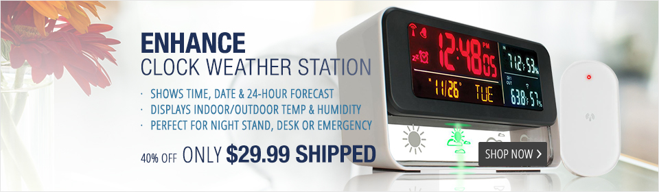 Accessory Power ENHANCE Weather Forecasting Station & Digital Alarm Clock w/ Wireless Outdoor Barometric Sensor and Color LED Display for Indoor / Outdoor Temperature Readings , Humidity , Time , and Date