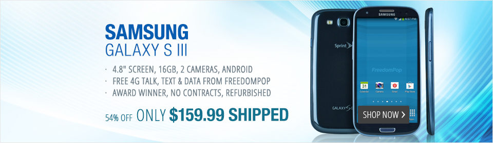 Free LTE Mobile Phone Service With Samsung Galaxy SIII (Pebble Blue)- FreedomPop (Certified Pre-owned)