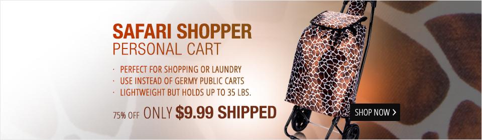 Giraffe-Print Laundry & Shopping Cart