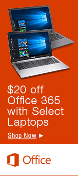 $20 off Office 365 with Select Laptops