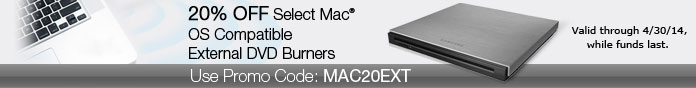 20% Off Mac OS Compatible External DVD Burners