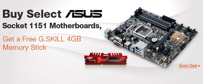 Buy Select ASUS Socket 1151 Motherboards, Get a free G.SKILL 4GB Memory Stick