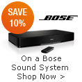 On a Bose sound system shop now