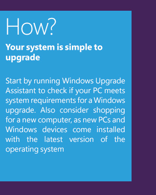 How? Your system is simple to upgradeStart by running Windows Upgrade Assistant to check if your PC meets system requirements for a Windows upgrade. Also consider shopping for a new computer, as new PCs and Windows devices come installed with the latest version of the operating system