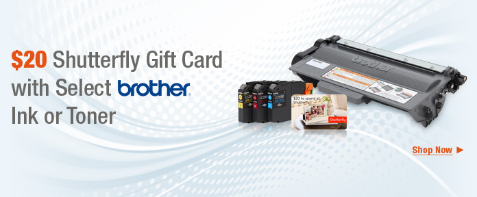 $20 Shutterfly Gift Card with select Brother Ink or Toner