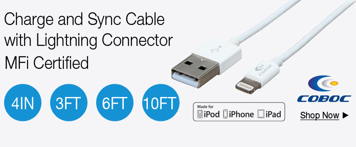 Charge and Sync Cable with Lightning Connector MFi Certified