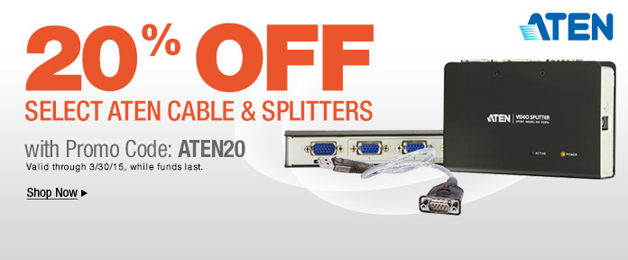 20% off cable and splitters shop now