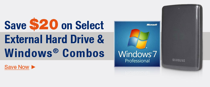 Save $20 on select External Hard Drive & Windows Combos