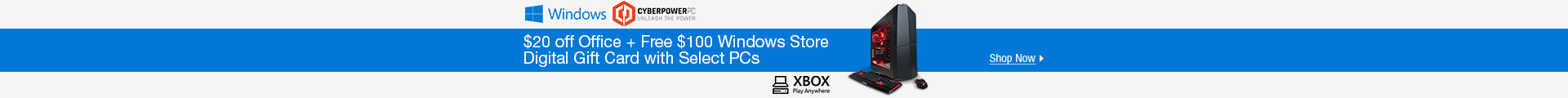 $20 off office + free $100 Microsoft store Credit with Select PCs