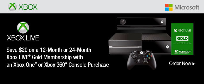 Save $20 on a 12-Month or 24-Month Xbox LIVE® Gold Membership with an Xbox One® or Xbox 360® Console Purchase