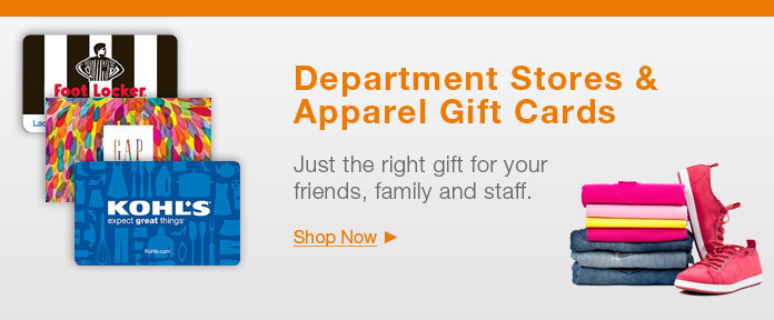 Department stores & apparel gift cards