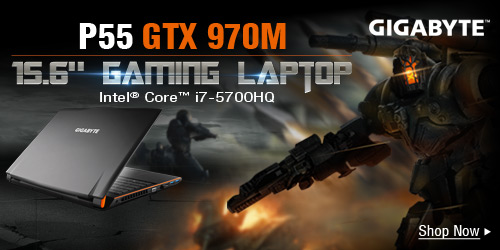 """GIGABYTE P55 GTX 970M 15.6"""" Gaming Laptop"""