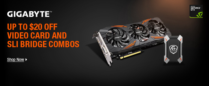 UP TO $20 OFF VIDEO CARD AND SLI BRIDGE COMBOS