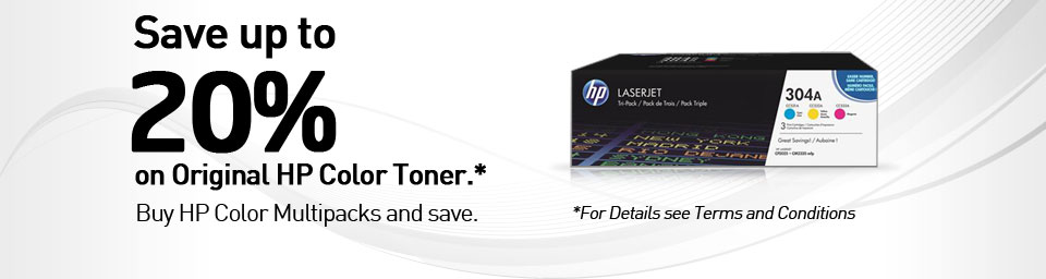 Save up to 20% on Original HP Color Toner