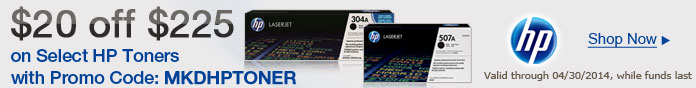 $20 off $255 on HP Toners with Promo Code