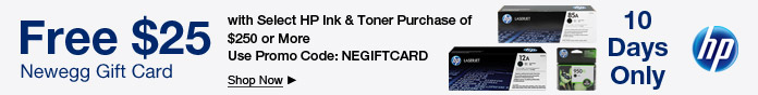 Free $25 Newegg Gift Card with HP Ink & Toner Purchase