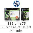$15 0ff $75 purchase of select HP inks with promo code